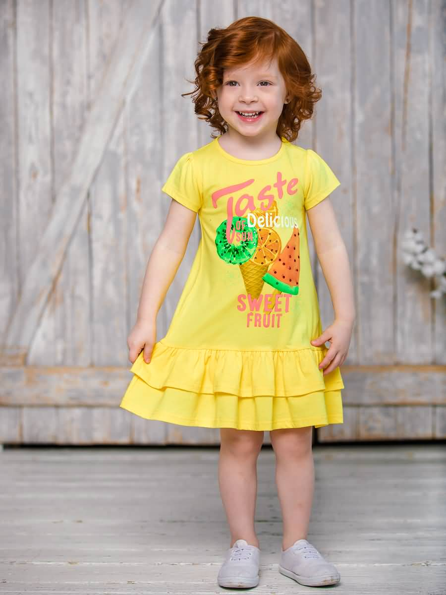 Dress knitted Sweet Berry for girls girls zip back appliques armhole dress