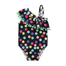 2019 Hot Toddler Kids Baby Girls One-piece suit swimsuit color dot one-shoulder ruffled beachwear