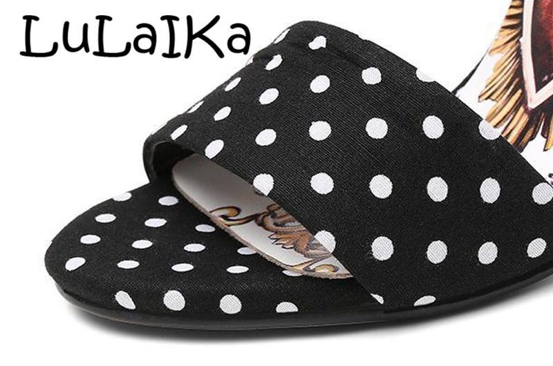 Schuhe Sandalen High Frau Mode Sexy Leder Perle Heel Spitze Dot Druck Frauen 2018 Offene Neue Black Polka Heels wqw4XPRC