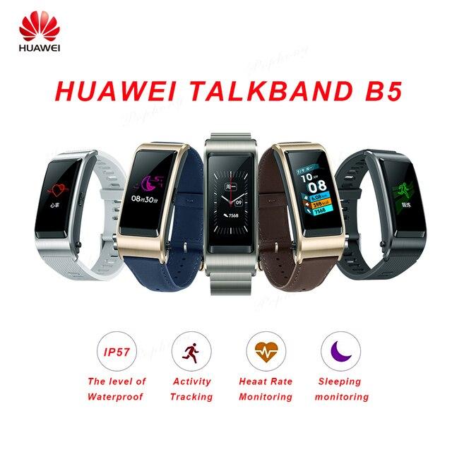 Global Version Huawei TalkBand B5 Talk Band สร้อยข้อมือสมาร์ทสวมใส่กีฬาบลูทูธสายรัดข้อมือ Touch AMOLED หน้าจอ