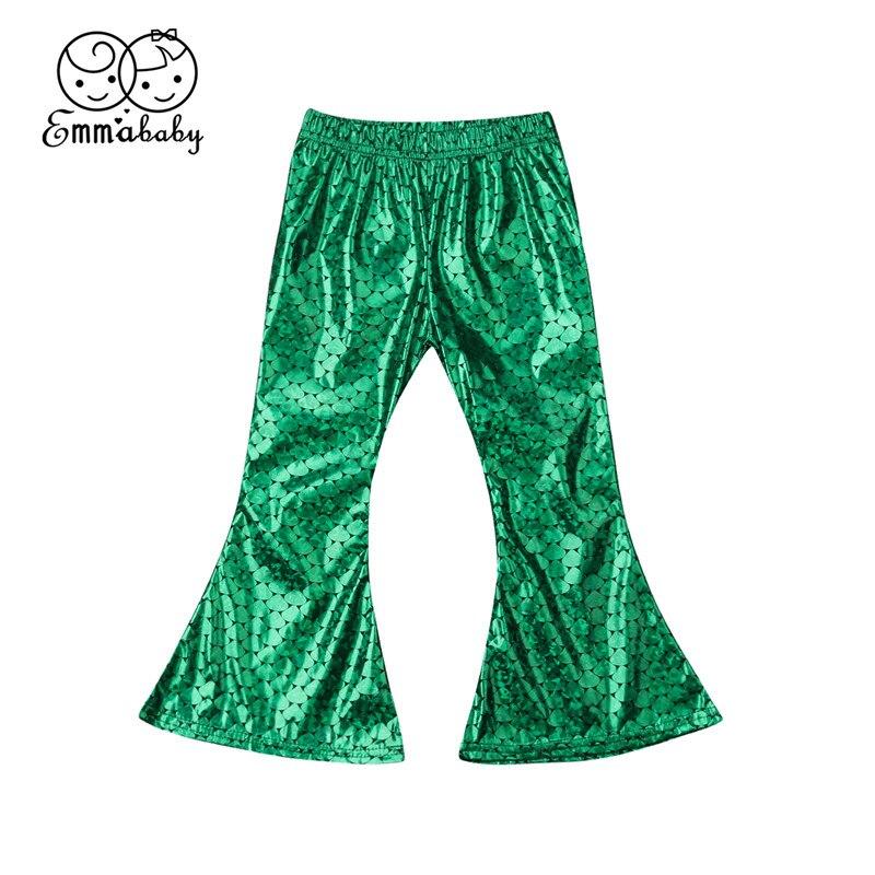 2-7y Mädchen Flares Meerjungfrau Leggings Hosen Für Kinder Grün Skala Druck Flare Baby Lange Hosen Hosen Kleidung