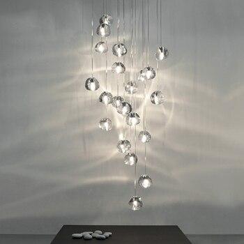 Nordic Led Pendant Lamp Crystal Pendant Lights Modern Stairwell Long Living Room Stair Hanging Lamps Decor Lighting Luminaria
