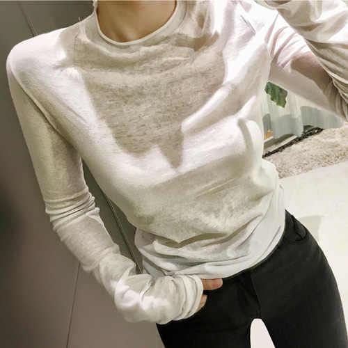 פופולרי דרום קוריאני חדש סקסי להראות דק, בסיסי ארוך שרוולים מיקרו דרך נשים של חולצה לדקלם קמטים עליון בגד