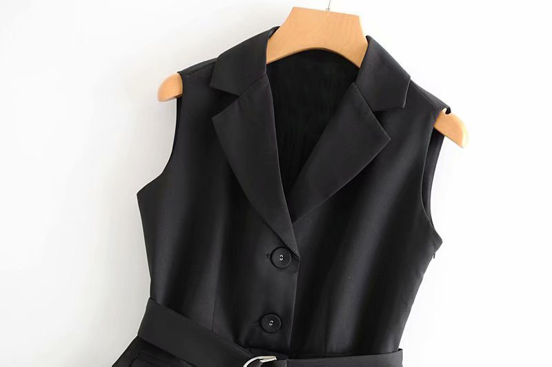 0728 Summer Spliced Mesh Office Vest Waistcoat For Women Adjustable Waist Office Long Suit Vest Sleeveless Jacket Female Black in Vests amp Waistcoats from Women 39 s Clothing