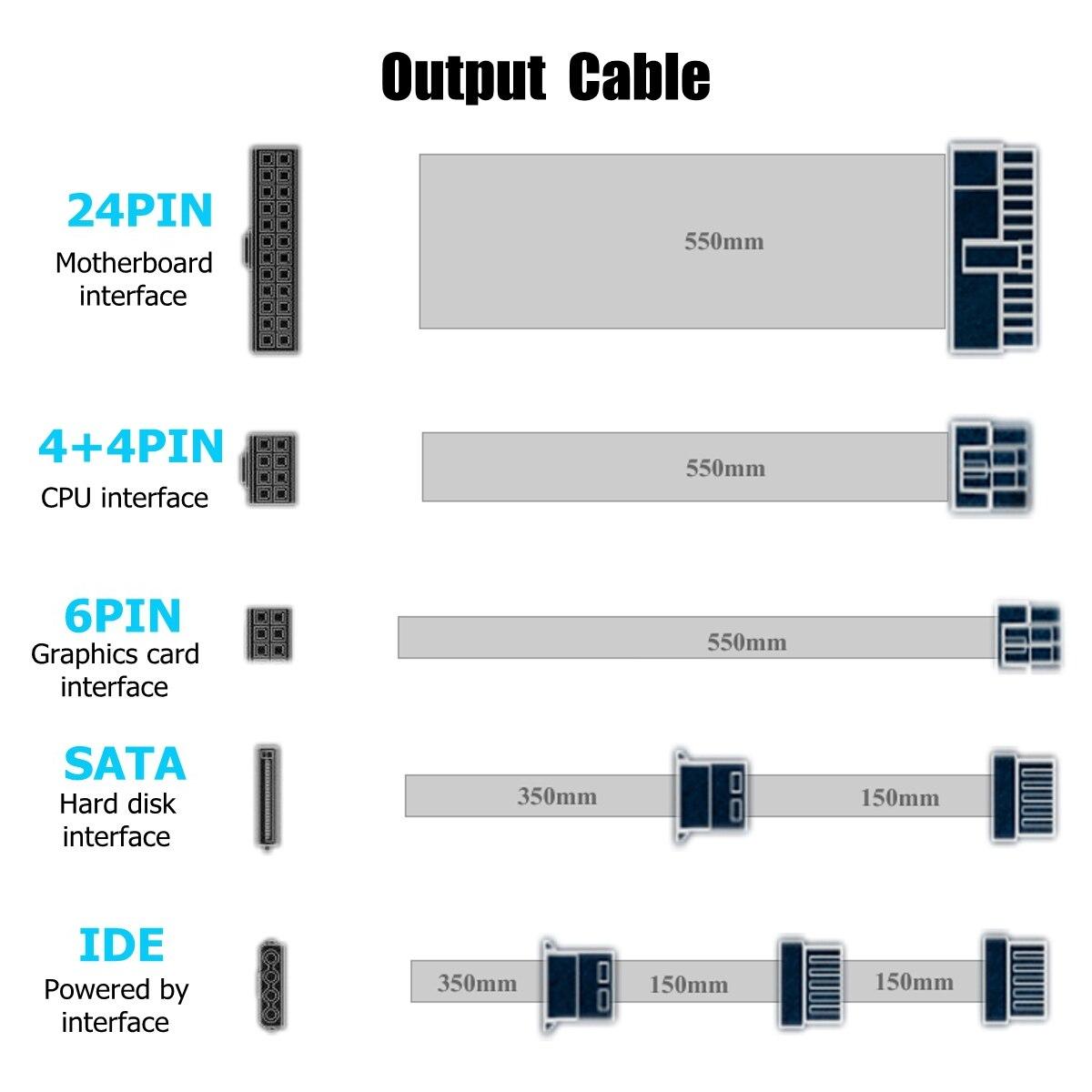 110 ~ 220V 800W PC alimentation 12cm LED ventilateur silencieux avec contrôle de température Intelligent Intel AMD ATX 12V pour ordinateur de bureau - 5