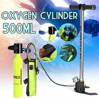 SMACO Scuba 0.5L Portable Diving Reserve Air Tank Set Hand Pump Oxygen Cylinder Mini Operated Pump with Pump and Respirator Bag