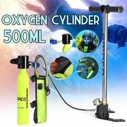 SMACO Scuba 0.5L Portatile Diving Riserva Serbatoio di Aria Pompa A Mano Set Bombola di Ossigeno Mini Azionato Pompa con Pompa e Respiratore borsa