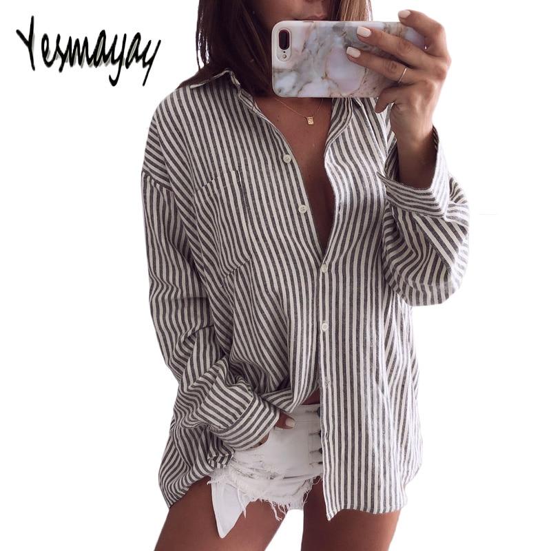 Blouse Women Long Sleeve Striped Cotton Blusas Mujer De Moda 2018 Blusa Elegantes Casual Turn Down Collar Shirt Top Women Blouse