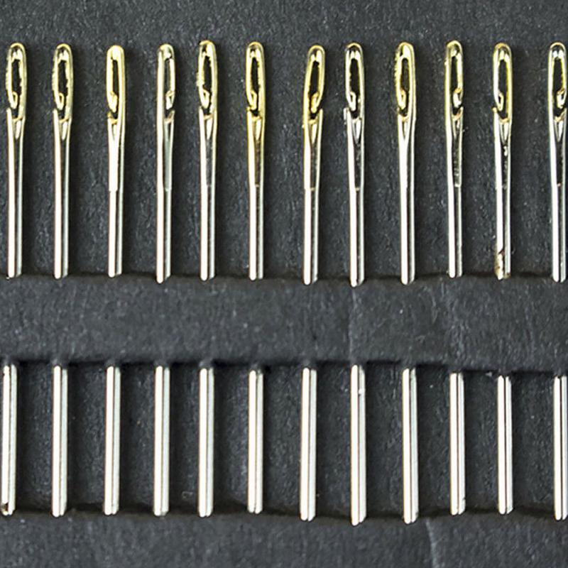 Abertura lateral ferramentas de costura do agregado familiar mão darning 12 pçs agulhas de aço inoxidável multi-tamanho velho cego pessoa agulhas de costura