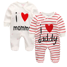 Baby Rompers Body Suits Cover Newborn Boys Girls One-pieces Clothes Stripe Printed Baby Winter Sleepsuits Ropa Bebe Clothing r baby little boys pack of 2 velour sleepsuits with feet