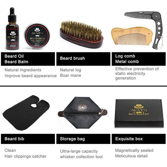 XY Fancy 7 Pcs/set Men Beard Care Suit Beard Comb Pig Bristle Brush Growth Cream Oil Beard Styling Care Cleaning Kit 4