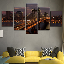Canvas Paintings Home Decor Wall Art 5 Pieces Manhattan Bridge New York City Night Landscape Posters For Living Room HD Print