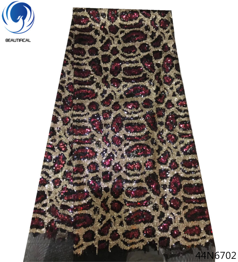 Beautifical sequin tulle lace fabric african embroidery wholesale retail glitter 44N67