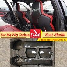 M4 Carbon Fiber Interior Trim Back Seat Shells Cover For BMW M4 F83 2-door convertible Sedan 4pcs / 1 set 420i 430i 435i 2015-19 car accessories dry carbon fiber seat back cover trim fit for 2014 2015 infiniti q50 sedan seat back cover car stying