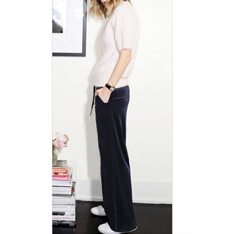 Casual Loose   Wide     Leg     Pants   Women 2018 Autumn Winter Velvet   Pants   High Waist Elastic Solid Fashion Long Trousers SJ333C