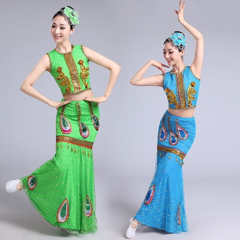 New sequins Dai Dance Costume Peacock skirt performance costume fish tail