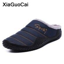Plus Size Homens Inverno Chinelos de Algodão de Pelúcia Peludo Sapatos  Masculinos Zapatillas Slip-on Chinelos Em Casa Quente Ant.. 704c976bf5d