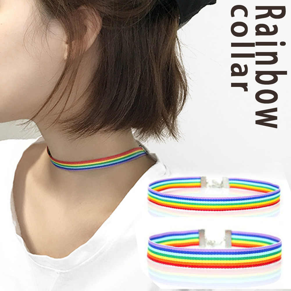 fashion Rainbow Choker Necklace men Women Gay Pride LGBT Gay and Lesbian Pride Lace Chocker Ribbon Collar with Pendant Jewelry