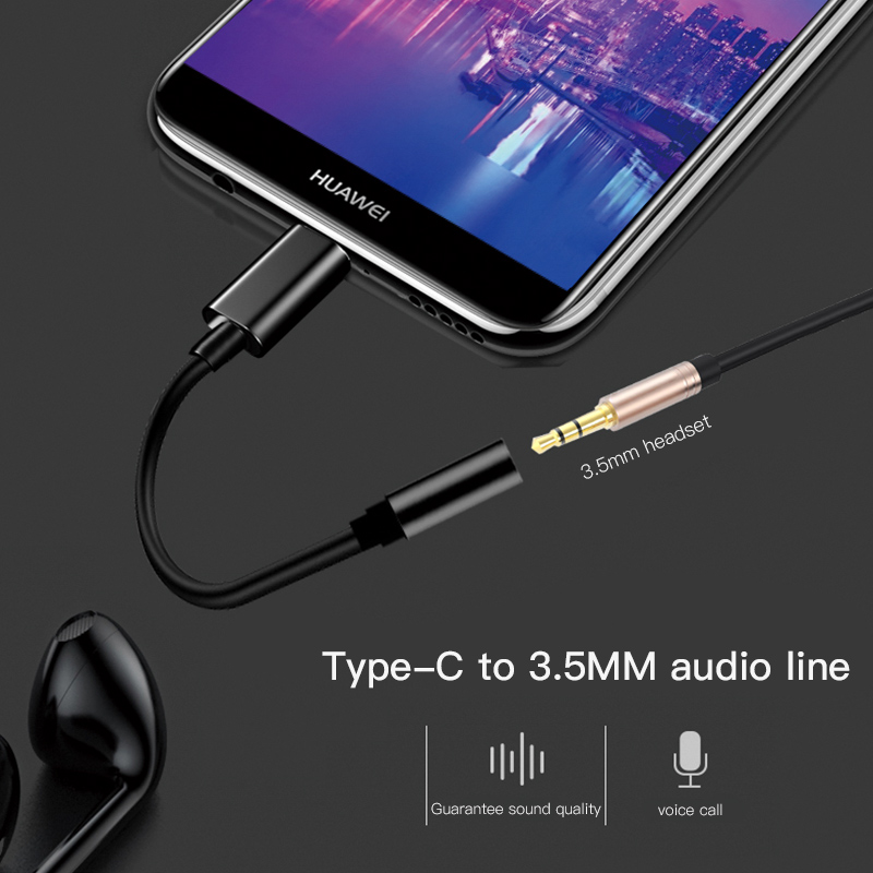 Type C 3.5 Jack Earphone Cable USB C To 3.5mm AUX Audio Headphone Adapter For Huawei Mate 10 P20 Pro Xiaomi Mi 6 8 6X Mix 2S