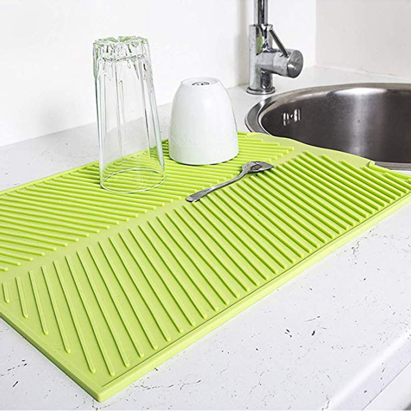LUDA Silicone Dish Drying Mat Flume Folding Draining Mat Rectangle Drain Mat Drying Dishes Pad Heat Resistant Non Slip Tray|Mats & Pads| |  - title=