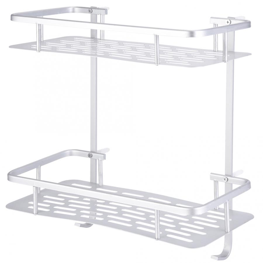 Double Layers Aluminum Storage Shelf Rack With 2 Hanging Hooks Wall Mounted Shower Shelf Bathroom Accessories