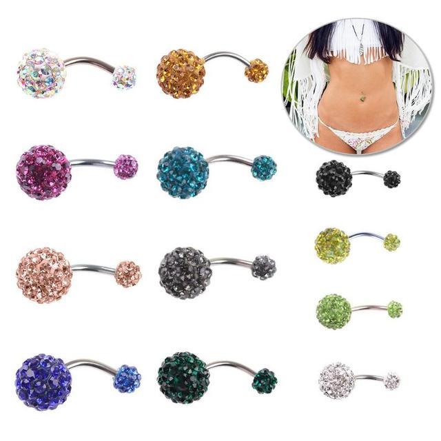 JOCESTY 1 יחידות קריסטל ריינסטון אישה טבור טבור טבעת Pircing כירורגי פלדה אמיתי בטן פירסינג טבור בר גוף תכשיטים