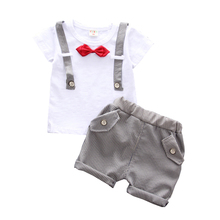 Summer Children Boys Girls Bow Clothes Baby Gentleman Cotton Short T-Shirt Pant 2Ps/Sets Kid Clothing Casual Outfits Tracksuits