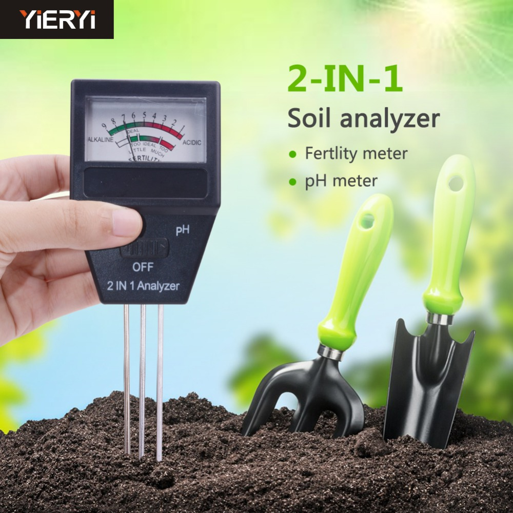 2017 new Gardening tools 2 in 1 Soil PH meter FERTILITY tester with 3 Probes Ideal