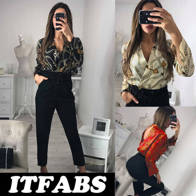 7bd78e680a5e Hirigin Brand 2019 New Romper Jumpsuit Sexy Womens Deep V Neck Tops Long  Sleeve Bodysuit Leotard