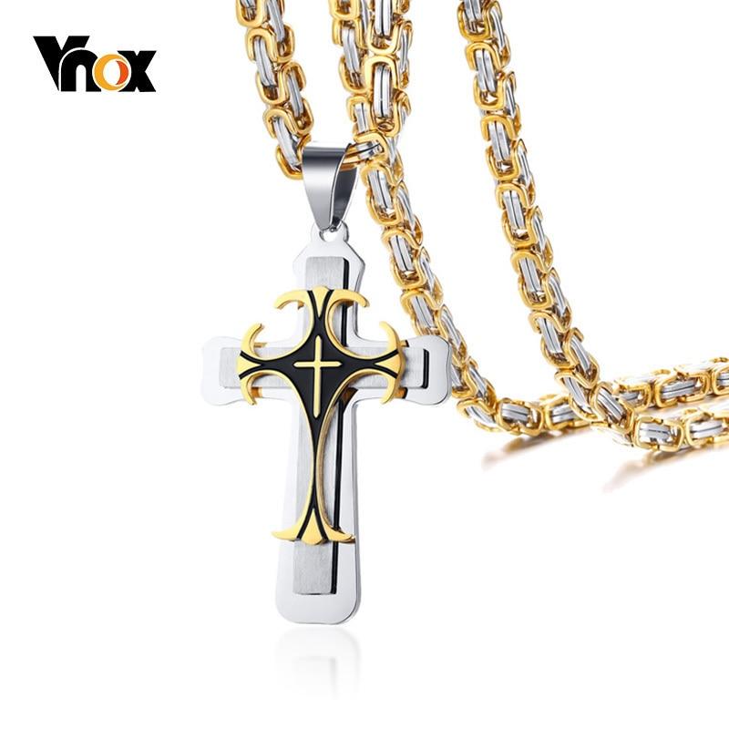 Vnox Chunky Byzantine Chain Cross Pendant for Men Necklace in Stainless Steel Iris Fleur-de-lis Male Punk Rock Hip-hop Jewlery crucifixo pingente de ouro masculino