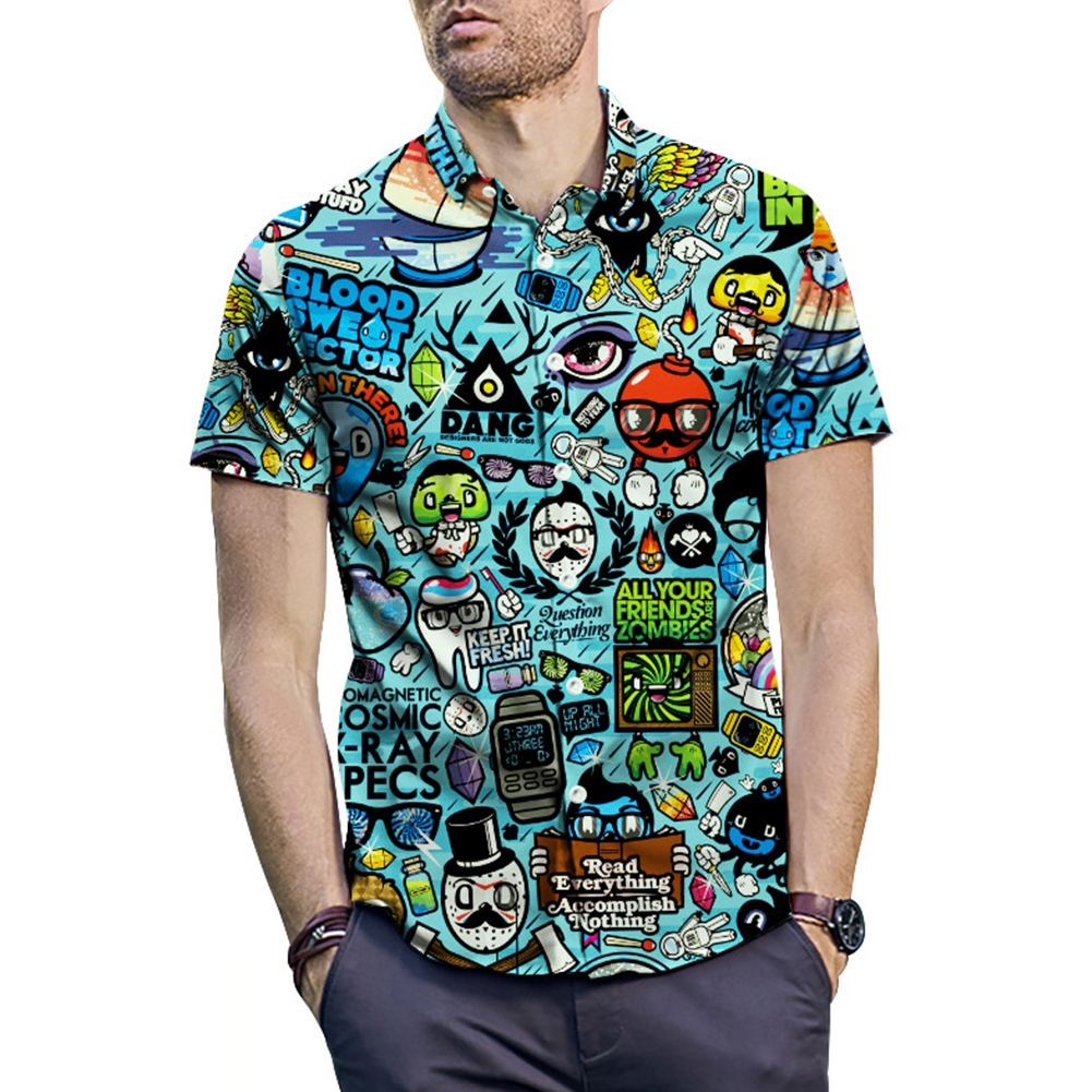 Plus Size 2XL Men Summer Casual Cartoon 3D Print Short Sleeve Tee Shirt Turn-down Collar Blouse Hawaiian Top For Beach Holiday