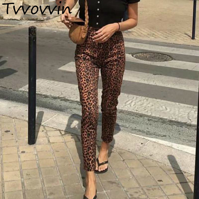 Women Trousers Leopard Printed Woman Pants High Waist Pencil Pants Leisure Long Trousers All Match Slim Womens Pants R341