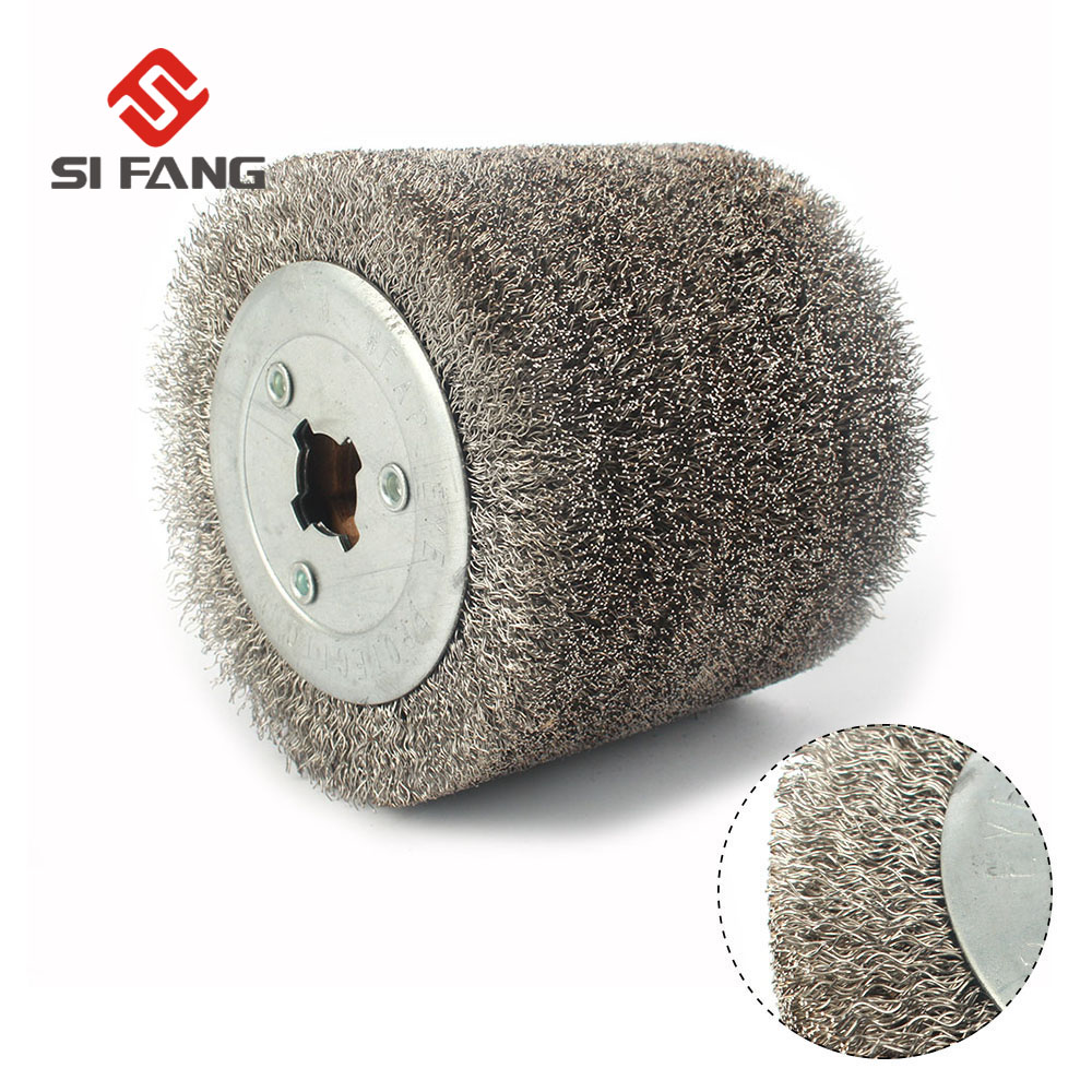 100mmx120mm Wire Drawing Polishing Burnishing Wheel Deburring Abrasive tool Stainless Steel Wire for Electric Striping Machine|Abrasive Tools| |  - title=