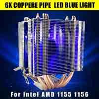 12 V 3Pin refrigerador ventilador de refrigeración disipador de calor para Intel Gal 1155 de 1156 para AMD Socket AM3/AM2 LED luz Azul CPU ventilador 6 xHeat Pipe ordenador