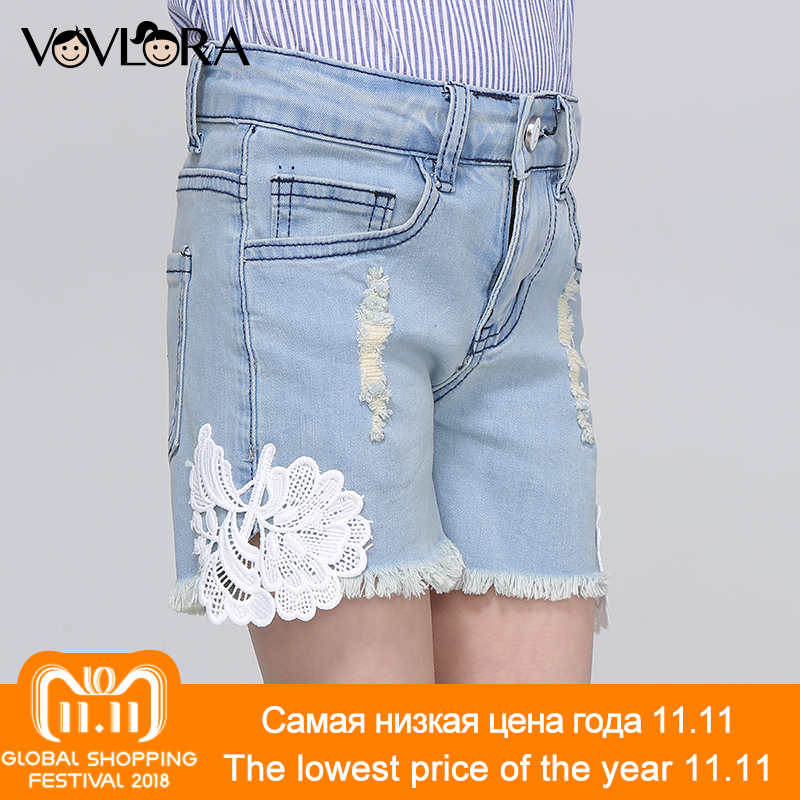Girls Hole Shorts Spliced Ripped Loose Kids Shorts Burr Floral Denim Mid Children Clothes Summer 2018 Size 7 8 9 10 11 12 Years цены онлайн