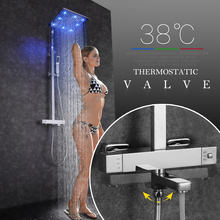цены SKOWLL Bathroom Thermostatic Shower Set Square Shower Faucet Mixer with LED Rainfall Shower Head Mixer