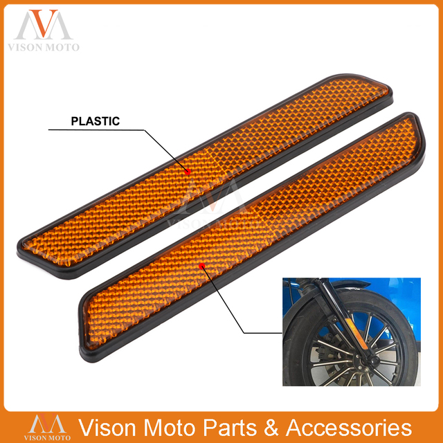 US $7 6 14% OFF Motorcycle ABS Plastic Front Fork Reflector Lower Legs  Slider For Harley Dyna Softail Sportster Touring Electra Glide V Rod-in  Covers