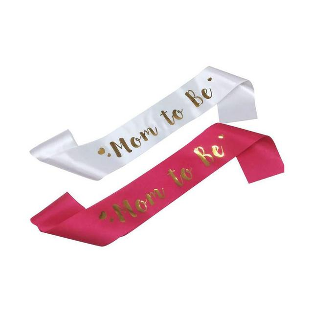 Mom To Be Sash Satin With Gold Glitter Fonts For Pregnant Woman Baby Shower Party