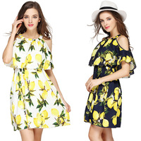 Boat/Bateau Neckline Ruffled Printed Cotton Dress Summer Was Thin Butterfly Sleeve Dress