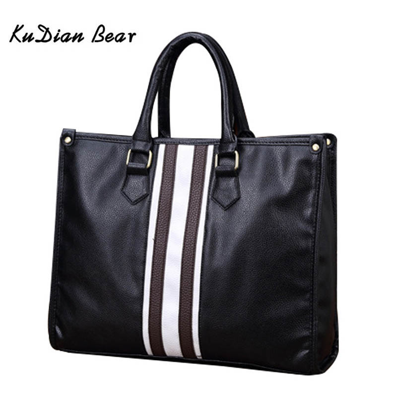 KUDIAN BEAR Brand Men Briefcase Shoulder Bag PU Leather Men's Bags Business Zipper Office Handbag Luxury Laptop Bags BIG011 PM35