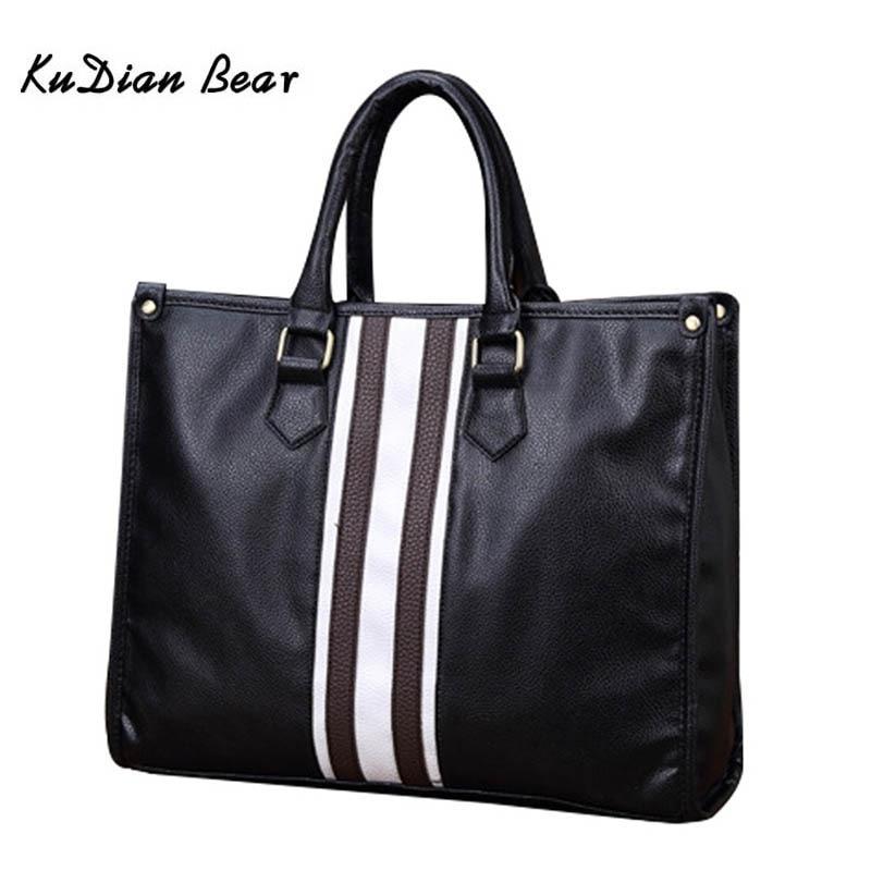 KUDIAN BEAR Brand Men Briefcase Shoulder Bag PU Leather Men's Bags Business Zipper Office Handbag Luxury Laptop Bags BIG011 PM35