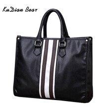 KUDIAN BEAR Brand Men Briefcase Shoulder Bag PU Leather Men's Bags Business Zipp