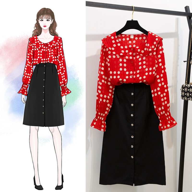 Printemps saveur vintage nouveau rouge mousseline de soie chemise et boutons longue jupes joker buste jupe costume deux pièces vêtements set robes femme