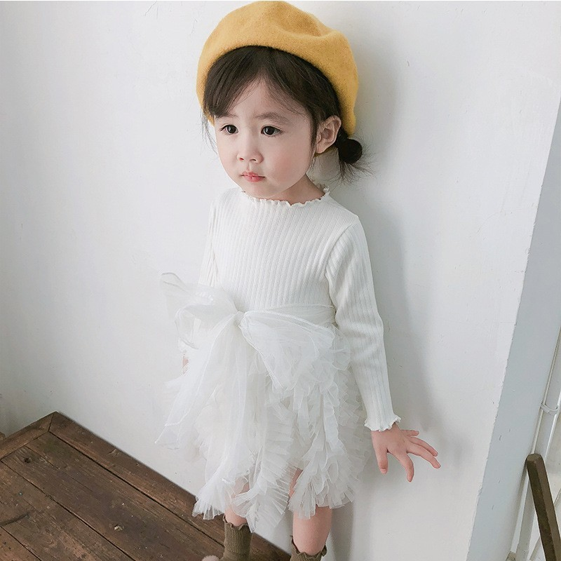 2019 Cotton Long Sleeve Knitted Kids Dresses For Girls Toddler Clothing Baby Girl Drees Tulle Patchwork Grey Pink White Spring 4