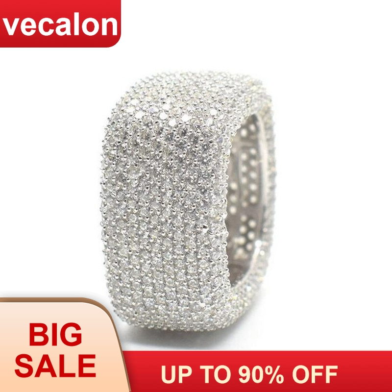 Vecalon Luxury Promise Ring 925 Sterling Silver Micro Pave 450pcs Zircon Cz Engagement Wedding Band Rings For Women Men Jewelry