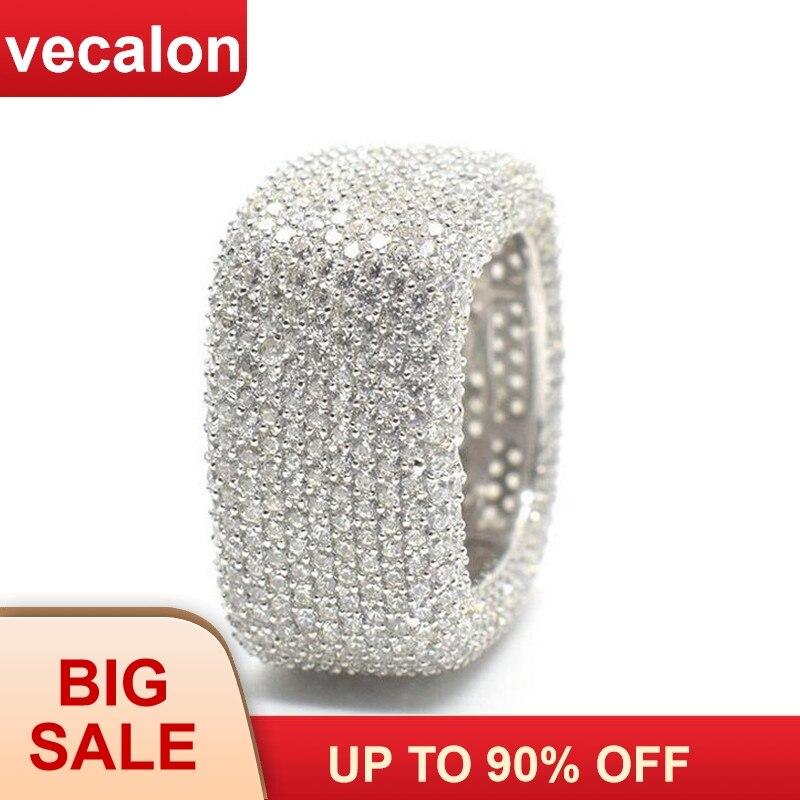 Vecalon De Luxe bague de fiançailles 925 en argent sterling Micro Pave 450 pièces Zircon Cz Engagement bague de mariage bagues pour femmes bijoux pour hommes