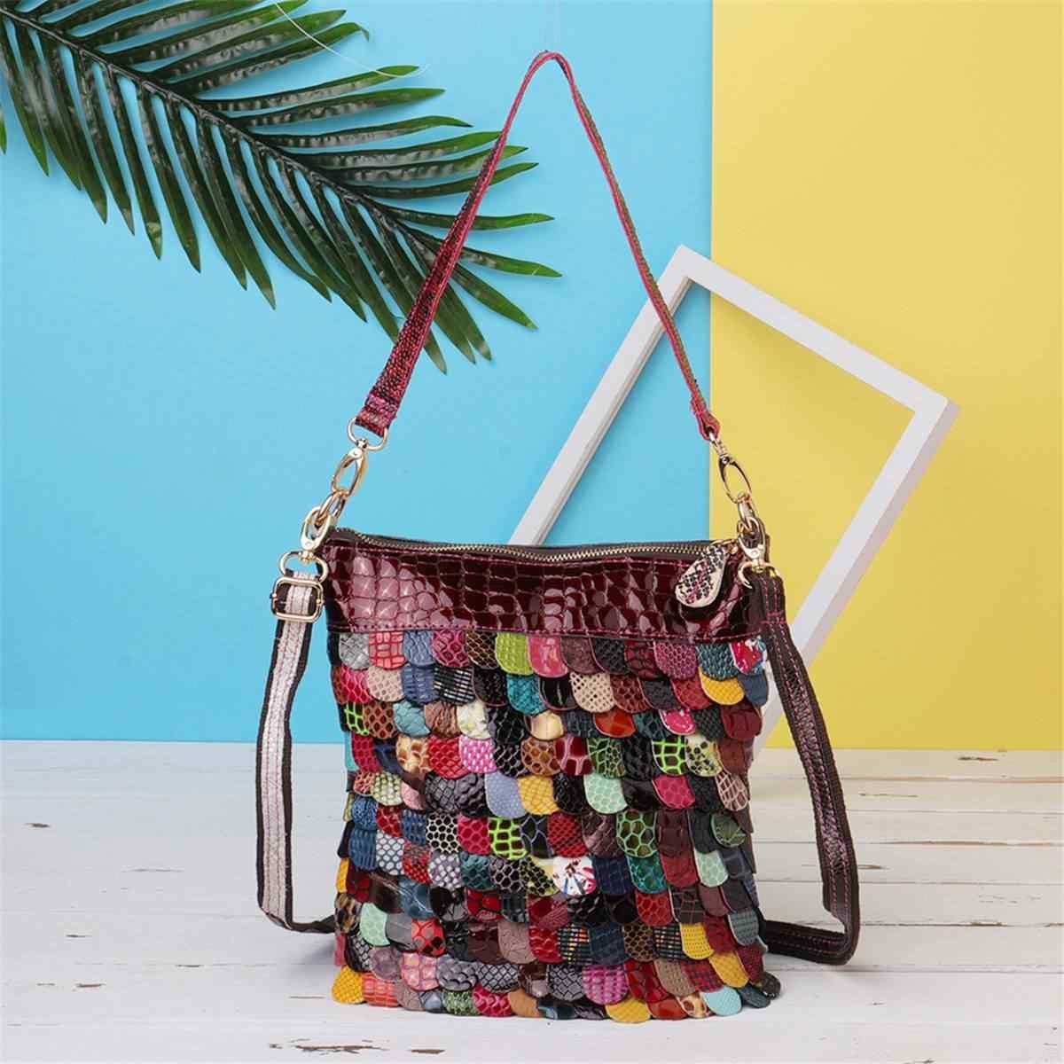 1464da78feb6 AEQUEEN Luxury Brand Genuine Leather Handbags For Women Floral Shoulder  Crossbody Bags Patchwork Purse Totes Bolsos
