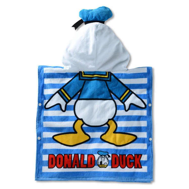 Serviette de bain à capuche enfant Disney 60*120 CM serviette de plage en gaze de coton respirante serviette de plage Mickey Minnie serviette de dessin animé
