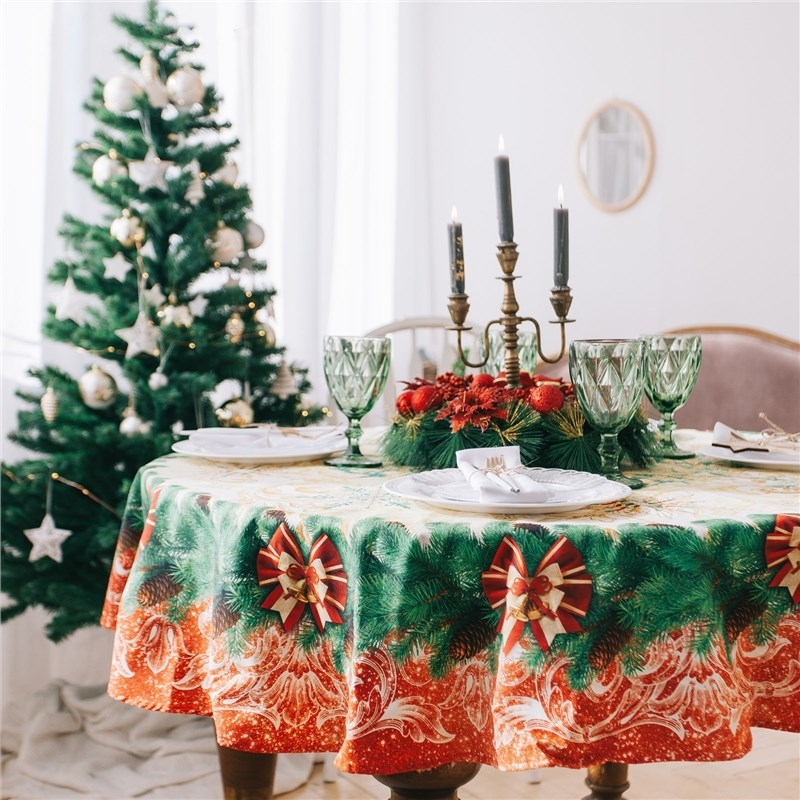 Table Cloth round Ethel Christmas Magic promotional european antique wooden round table coffee table small round table coffee table