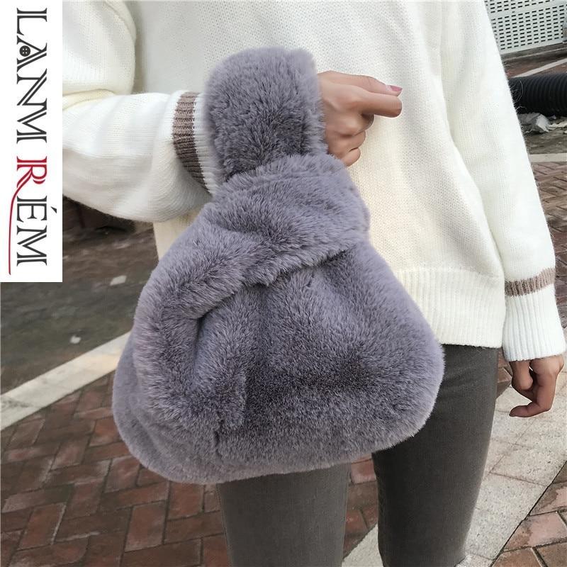 Lanmmre Tasche/2019 Neue Muster Persönlichkeit Nachahmung Kaninchen Faxu Pelz Handtasche Für Frauen Alle Spiel Leopard Druck Eimer Tasche Yf945
